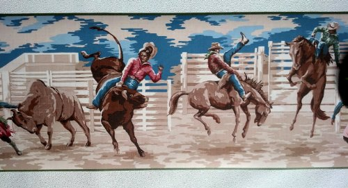 Cowboy Bronco Rodeo Wallpaper Border - Green Edge...