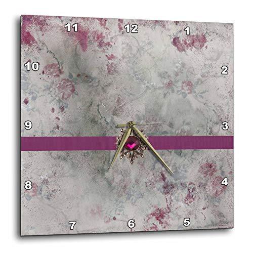 3dRose Beverly Turner Satin Ribbon Design - Image of Jewel on Ribbon, Marble Flower Design, Amaranth Purple, Gray - 10x10 Wall Clock (DPP_313301_1)