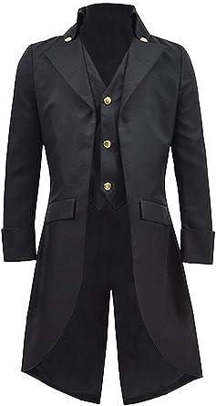 DarcChic Mens Gothic Tailcoat Jacket Black Steampunk VTG Victorian High Collar Coat