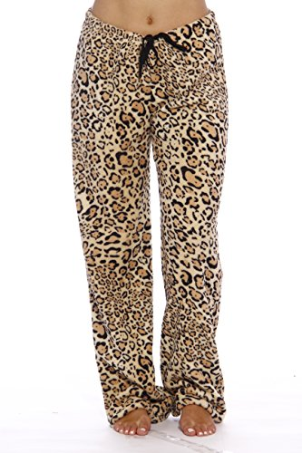 Just Love Women's Plush Pajama Pants, X-Large, Leopard (Pants Leopard Lounge)