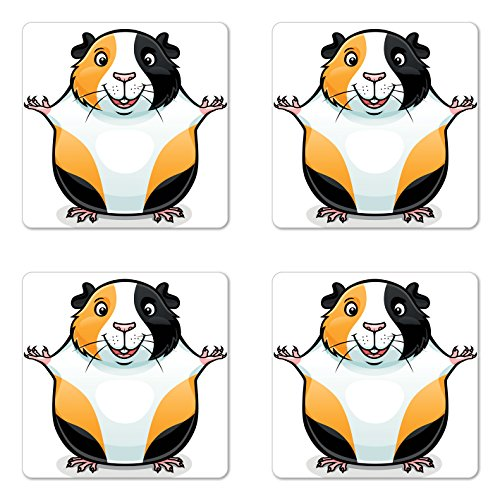 Lunarable Guinea Pig Coaster Set of 4, Cartoon Illustration of a Fluffy and Smiling Face Abyssinian, Square Hardboard Gloss Coasters, Standard Size, Orange White and Black