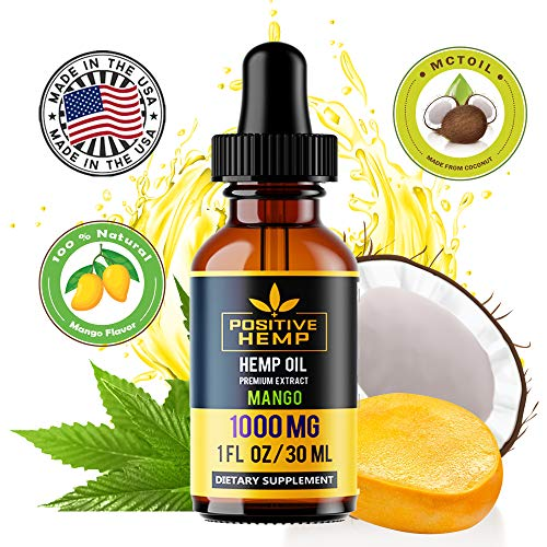 Organic Hemp Seed Oil | Tropical Mango Flavor | 1000 MG | 30 ML, 1 FL OZ | Full Spectrum | Pain, Stress & Anxiety Relief, Sleep Aid |100% Natural and Vegan