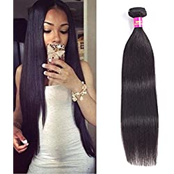 "USOFT 8A Brazilian Straight Human Hair 1 Bundle Natural Black Color 100% Unprocessed Brazilian Virgin Hair Soft And Tangle Free(18"", Natural Color)"