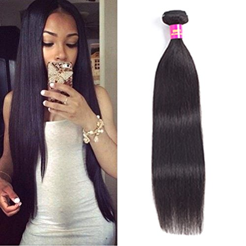 USOFT Brazilian Straight Human Hair 1 Bundle (22 inch) Natural Black Color 100% Unprocessed 8A Grade Brazilian Virgin Mink Hair Bundles Soft and Tangle Free ()