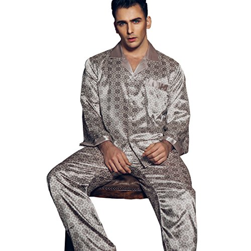 CENCISHOW Mens Silk Satin Pajamas Set Sleepwear Loungewear