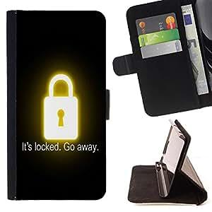 King Art - Premium-PU-Leder-Prima caja de la PU billetera de cuero con ranuras para tarjetas, efectivo Compartimiento desmontable y correa para la mu?eca FOR LG OPTIMUS L90- IT's Locked Go away