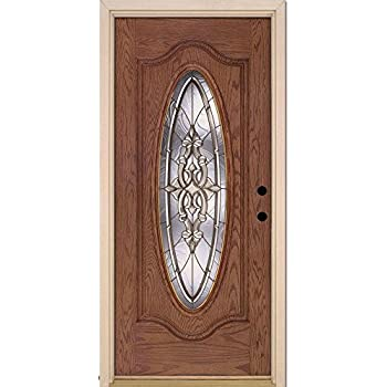 Silverdale Brass Full Oval Lite Medium Oak Fiberglass Entry Door