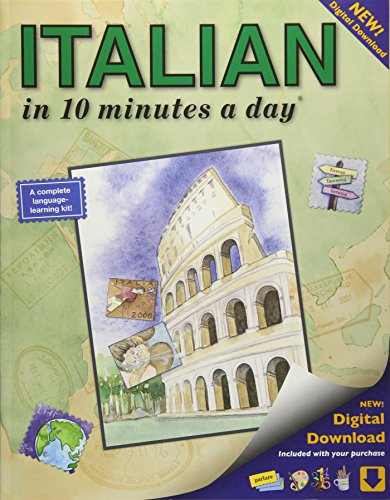 ITALIAN in 10 minutes a day: Language course for beginning and advanced study.  Includes Workbook, Flash Cards, Sticky Labels, Menu Guide, Software, ... Grammar.  Bilingual Books, Inc. (Publisher)
