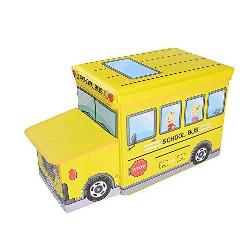 OVI Toys Storage Box Toy Bin Toy Chest Foldable Storage Seat - School Bus (School Bus Seats)