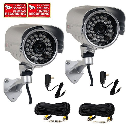 VideoSecu 2 Pack CCTV IR Infrared Home Outdoor Bullet Security Cameras Built-in SONY Effio CCD 700TVL Day Night 3.6mm Wide Angle with Power Supplies and Extension Cables ML9