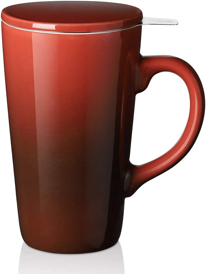 DOWAN Tea Cups with Infuser and Lid, 17 Ounces Large Tea infuser Mug, Tea Strainer Cup with Tea Bag Holder for Loose Tea, Ceramic Tea Steeping Mug, Red Color Changing