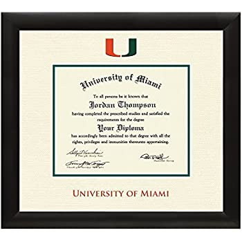 university of miami diploma frame textured ivory green matting with official um logo - Diploma Frame Size