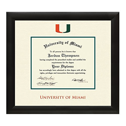 "University of Miami Diploma Frame – Textured Ivory & Green Matting with Official UM Logo – By Church Hill Classics (Diploma Size 11""x14"")"
