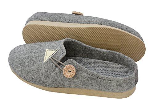 de amp;Chaussures Wedge WedgeChaussons Semelle Pantoufles en BeComfy Pour et Gris avec Dames Caoutchouc Confort les qvPUx6n