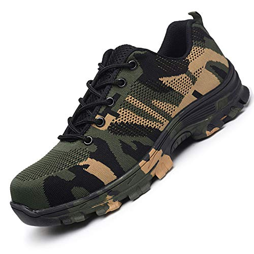 JACKSHIBO Steel Toe Work Shoes for Men Women Safety Shoes Breathable Industrial Construction Shoes Camouflage Green 12.5 Women/11 Men
