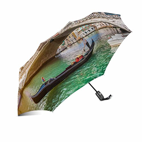 InterestPrint Beautiful View of Traditional Gondola on Famous Canal Grande with Rialto Bridge at Sunset in Venice, Italy with Retro Vintage Style Automatic Foldable Outdoor Travel Umbrella (Gondola Furniture)