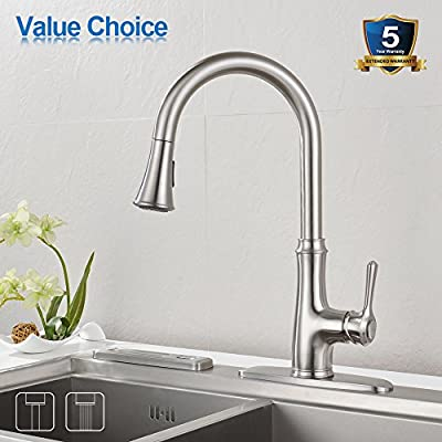 Kitchen Faucet Pull Down Sprayer - WEWE A1008L Stainless Steel Sink Faucets Single Handle High Arc Brushed Nickel Faucet with Pull Out Sprayer
