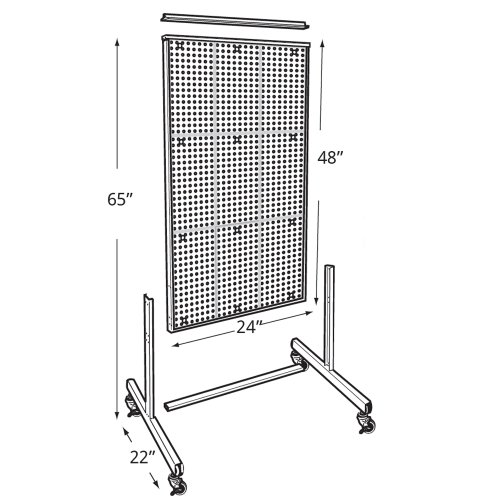 Azar 700271-CLR Two-Sided Floor Display, Clear Translucent Pegboard with Wheeled Base by Azar Displays (Image #2)