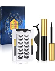 URAQT Magnetische wimpers, magnetische vloeibare eyeliner, 3D dikke lange pluizige kunstwimpers, natuurlijke magnetische wimperset met tang, waterdicht en herbruikbaar