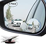 "Ampper Upgrade 2"" Blind Spot Mirrors, 360 Degree Rotate Sway Adjustabe HD Glass Convex Wide Angle Rear View Car SUV Universal Fit Stick-On Lens (Pack of 4)"