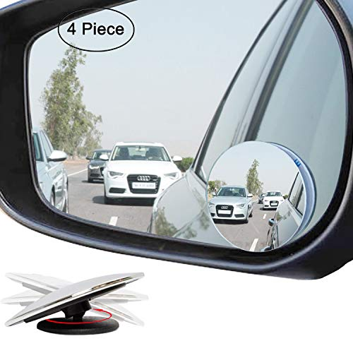 Ampper Upgrade 2 Blind Spot Mirrors, 360 Degree Rotate Sway Adjustabe HD Glass Convex Wide Angle Rear View Car SUV Universal Fit Stick-On Lens (Pack of 4)