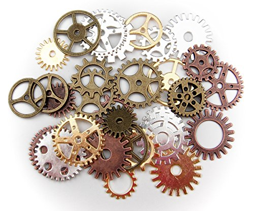 ALL in ONE 100 Gram Steampunk Gear Wheel Charms Cog Connectors Pendants Jewelry Finding DIY Craft (MIX)