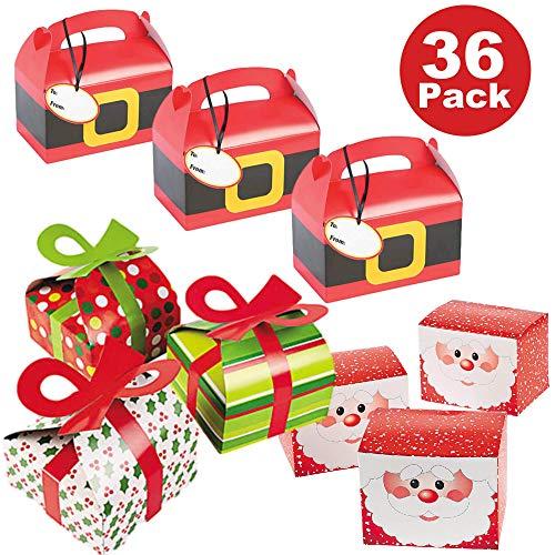 36 Piece Christmas Holiday Party Favor Gift Box Bulk Variety Pack - 12 Santa Suit Treat Boxes, 12 Santa Claus Favor Boxes, 12 Holiday Pattern Boxes with 3D Bows -