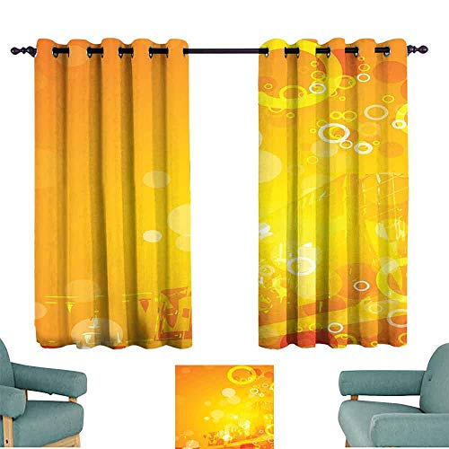 """Mannwarehouse Orange Classical Curtain Abstract Composition with Circles Dots Artistic Energetic Colors Sunburst 70%-80% Light Shading, 2 Panels,55"""" Wx39 L Orange Yellow White"""