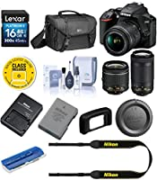 Nikon D3500 24MP DSLR Camera with AF-P DX NIKKOR 18-55mm f/3.5-5.6G VR Lens and AF-P DX NIKKOR 70-300mm f/4.5-6.3G ED Lens - Bundle with Camera Case, 16GB SDHC Card, Cleaning Kit, Card Reader