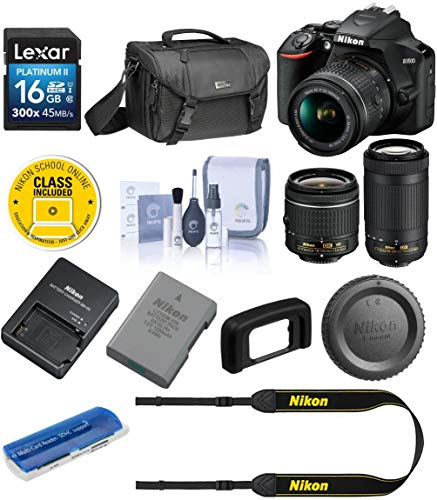 Nikon D3500 24MP DSLR Camera with AF-P DX NIKKOR 18-55mm f/3.5-5.6G VR Lens and AF-P DX NIKKOR 70-300mm f/4.5-6.3G ED Lens – Bundle with Camera Case, 16GB SDHC Card, Cleaning Kit, Card Reader