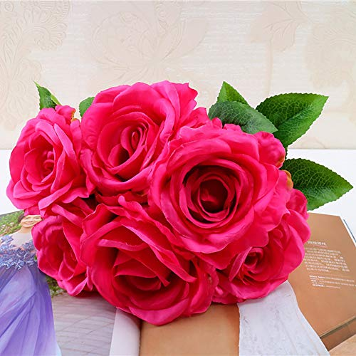 (Beyonds Wedding Decorations Artificial Flowers, 1 Bouquet 6 Heads Rose Flowers Centerpieces for Wedding Table Silk Real Touch for Gift Bridal Wedding Home Garden Outdoor Party Decoration)