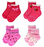 Liwely 4 Pairs Baby Girls Socks for 6 - 36 Months Infants and Toddlers, Pink Set
