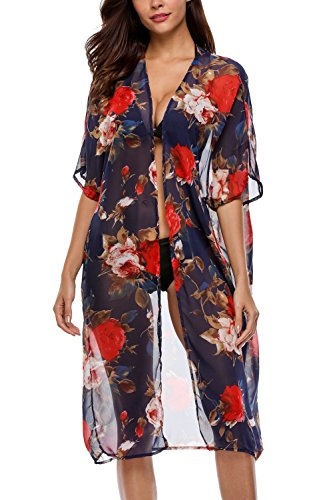 Navy Cardigan Suit (Sociala Women's Sheer Chiffon Long Kimono Cover Up Navy Floral Beach Cardigan)