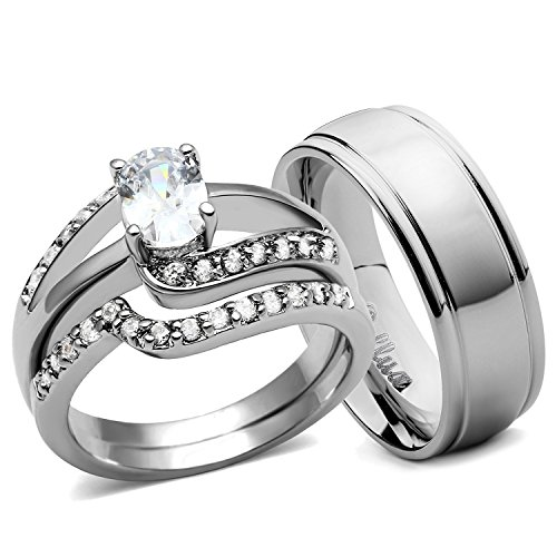 His and Hers Wedding Ring Sets Women's Oval CZ Rings Set & Men's Dome Grooved Edge Matching Band (Women's Size 06 & Men's Size 09) - Edge Oval Ring