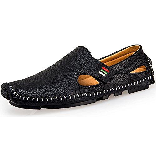 Ceyue Mens Körning Skor Penny Loafers Casual Läder Sys Dagdrivaren Skor Svart