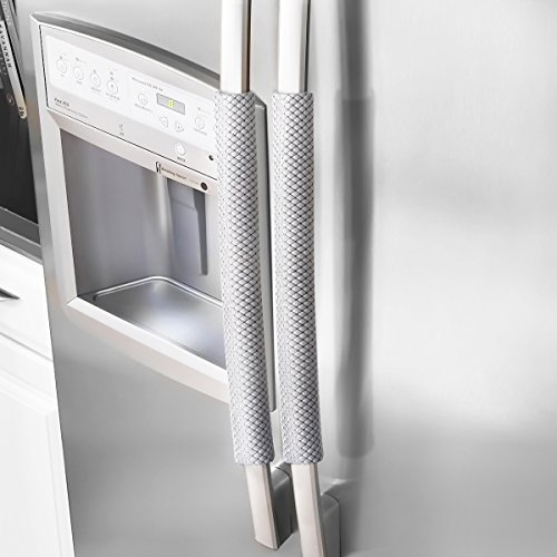 Ougar8 Refrigerator Door Handle Covers Handmade Decor Protector for Ovens, Dishwashers.Keep Your Kitchen Appliance Clean From Smudges, Food Stains (Rhombus Light Gray) (Door Refrigerator Cover)