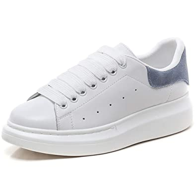 2b87406ef433 YORWOR Baskets Mode Femme Sneakers Plateforme Chaussures à Lacets Classics  Loisir Confort Casual Trainers Blanc Bleu