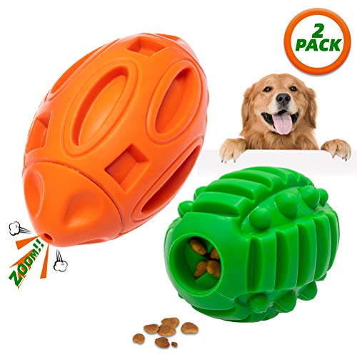 Durable Dog Squeaky Toys for Aggressive Chewers, Tough Food Treat Dispensing Toy, Almost Indestructible Interactive Chew…