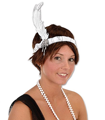 White Jeweled Flapper 20's Showgirl Costume Headband]()
