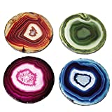 Pack of 12 Contemporary Multi-Colored Faux Agate Slate Drink Coasters 4""