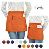 VEEYOO Stylist Waist Chef Apron with Pockets, Set of 2, Durable Spun Poly Cotton, Restaurant Short Bistro Half Aprons for Men Women, 24x12 inches, Orange