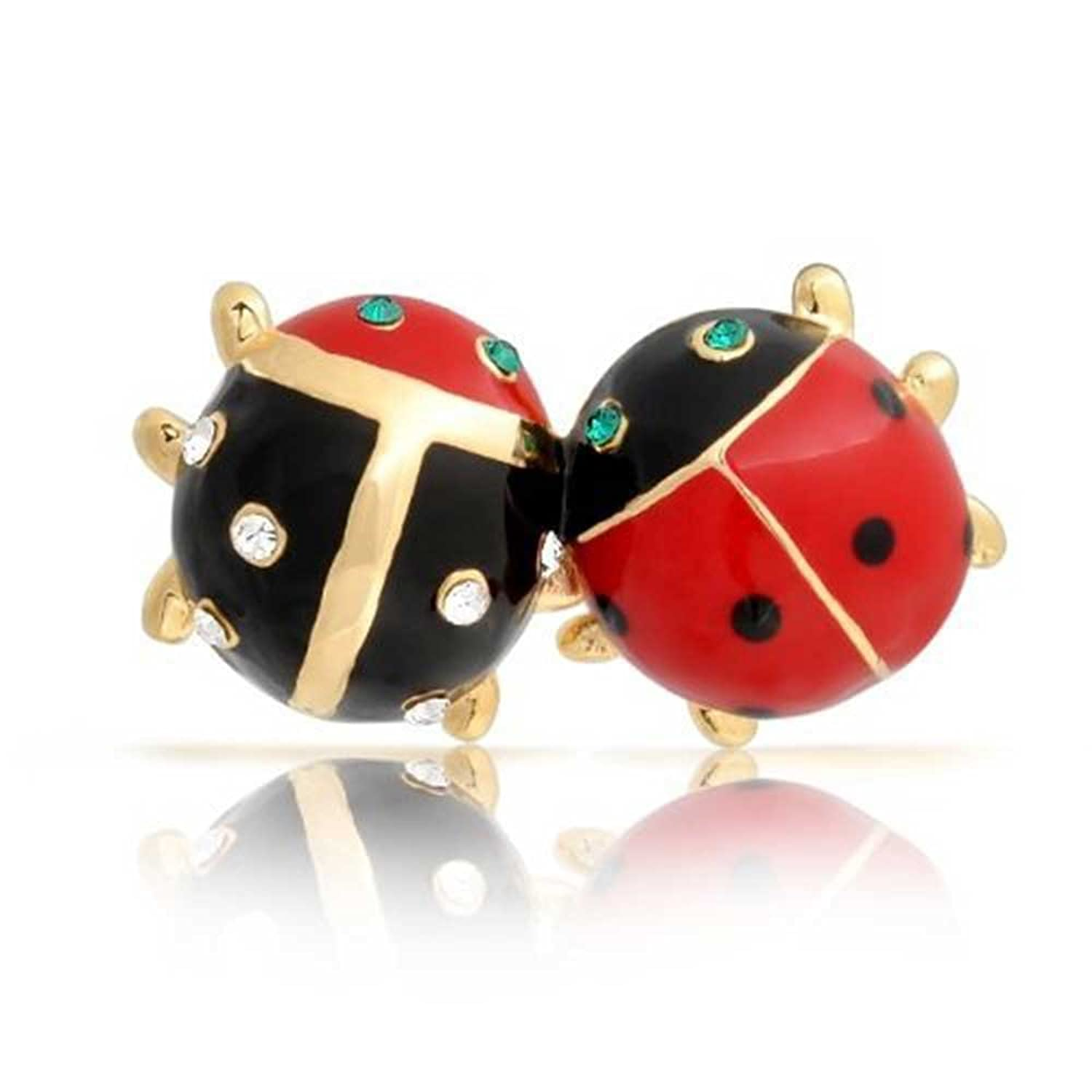 Amazon.com: Bling Jewelry Gold Plated Enamel Insect Bug Crystal Ladybug  Brooch Pin: Brooches And Pins: Jewelry
