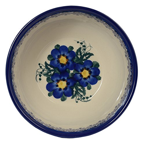 Traditional Polish Pottery, Handcrafted Ceramic Salad or Cereal Bowl 800 ml (d.16cm), Boleslawiec Style Pattern, M.702.Pansy