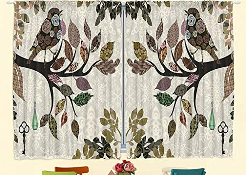 Ambesonne Kitchen Curtains European Home Decor, Spring Floral Birds French Vintage Rustic Theme Style, 55 X 39 Inches, 2 Panels Set for Kitchen Windows Decorations, Brown Green Beige Multicolored