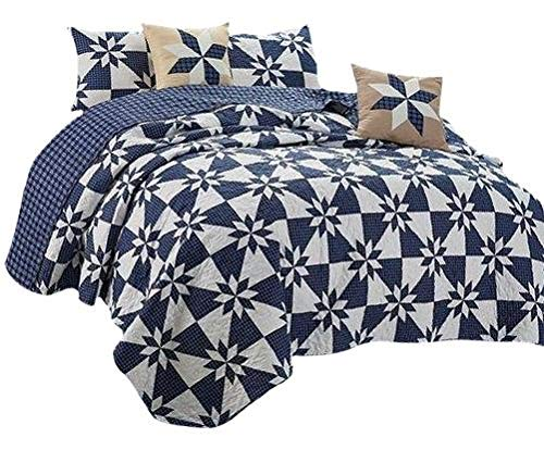 Virah Bella Hunters Star Country Farm House Style Reversible Printed Quilt Set (Blue, King)