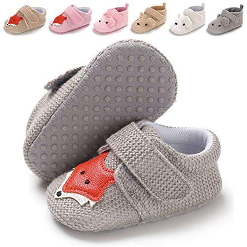 BENHERO Baby Boys Girls Shoes Soft Sole Cartoon Animals Slippers Infant Toddler Prewalker Moccasins Crib First Walkers House Shoes (12-18 Months M US Infant) A-Grey Fox