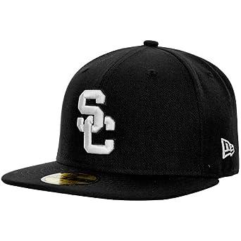 buy popular bdbf8 ae1e1 ... uk ncaa new era usc trojans black white 59fifty fitted hat black 7 3  5058c a50b7