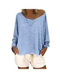 Shirts for Women Off The Shoulder Casual Loose Long Sleeve Neck Solid Color Blouse