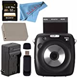 Fujifilm instax SQUARE SQ10 Hybrid Instant Camera #600018496 + Sony 32GB SDHC Card + Rechargable Li-Ion Battery + External Rapid Charger + Card Reader + Fibercloth Bundle