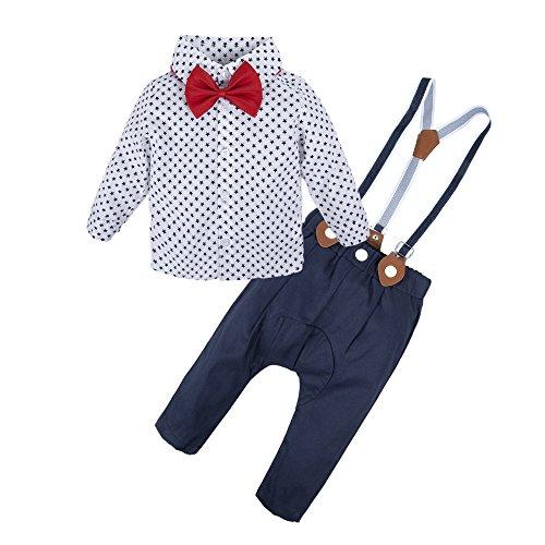 s Baby Boys Long Sleeve Star Print Shirt Suspender Pant Set Star Q22-80 3-6 Months ()
